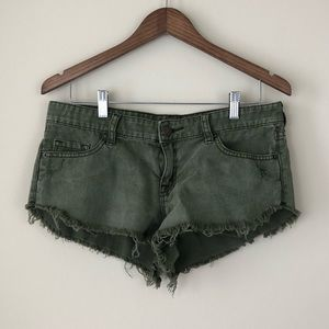 BDG Green Low Rise Dolphin Cut-Off Shorts